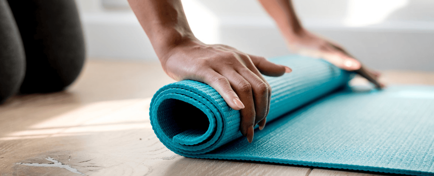 yoga mat being rolled up the right way