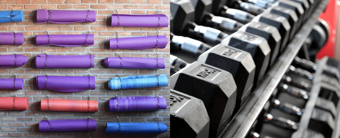 Wall of yoga mats side by side to a row of dumbbells