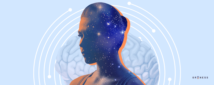 Blended images of woman and stars to represent the brain reacting to stimulation