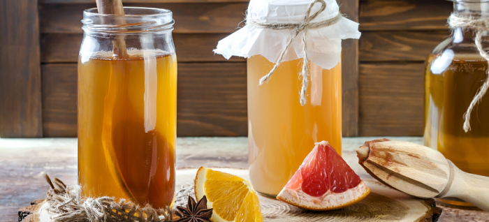 Asian effervescent tea known as Kombucha that improves gut help and digestion speed