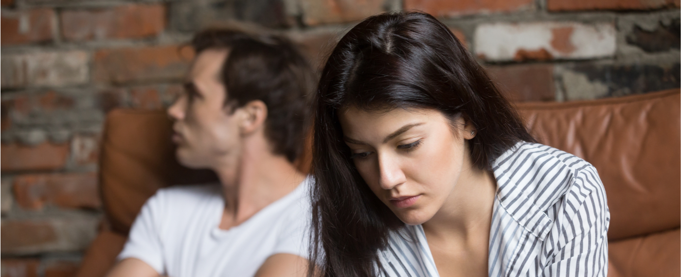 Man and woman in toxic relationship refusing to look at each other
