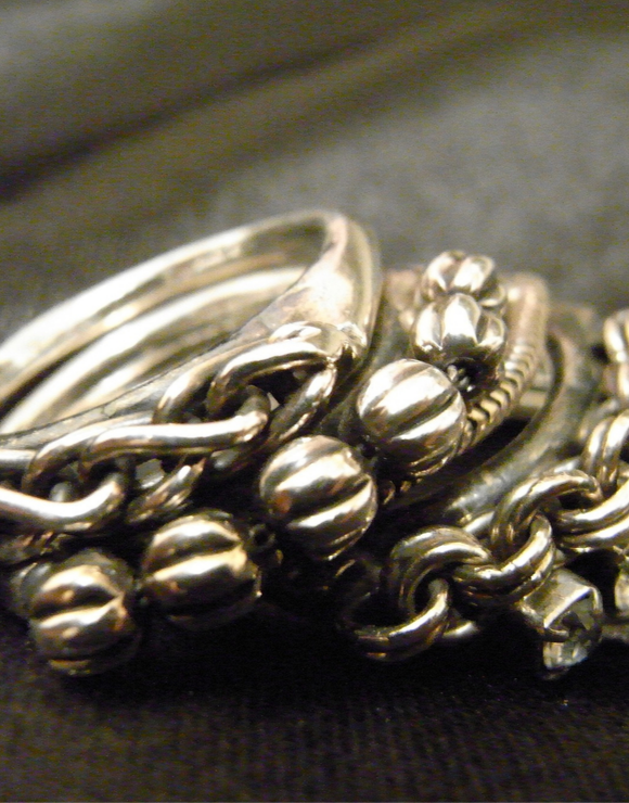 set of tarnished silver rings
