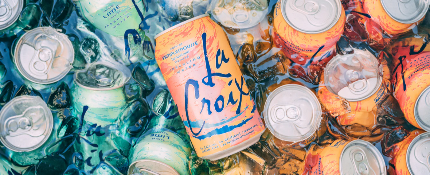 Cans of sparkling flavored water in various flavors