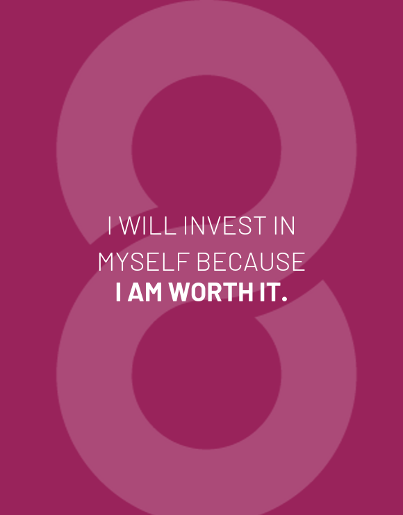 I will invest in myself quote on purple background