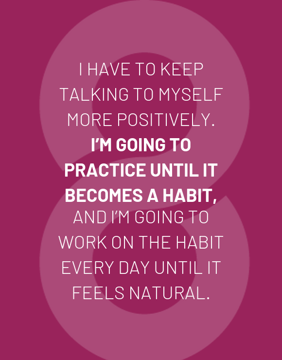 Quote about talking positively on purple background