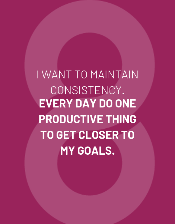 Quote about consistency and productivity on purple background