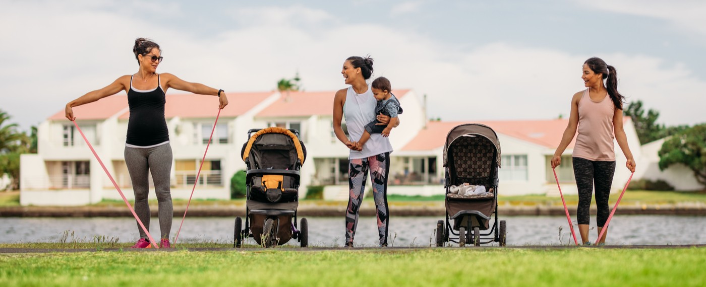 New mothers exercising together to get rid of baby weight