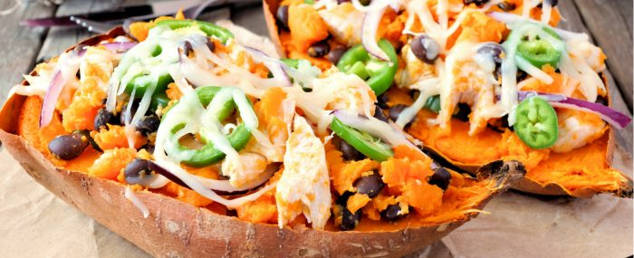 Healthy vegan black bean stuffed sweet potatoes