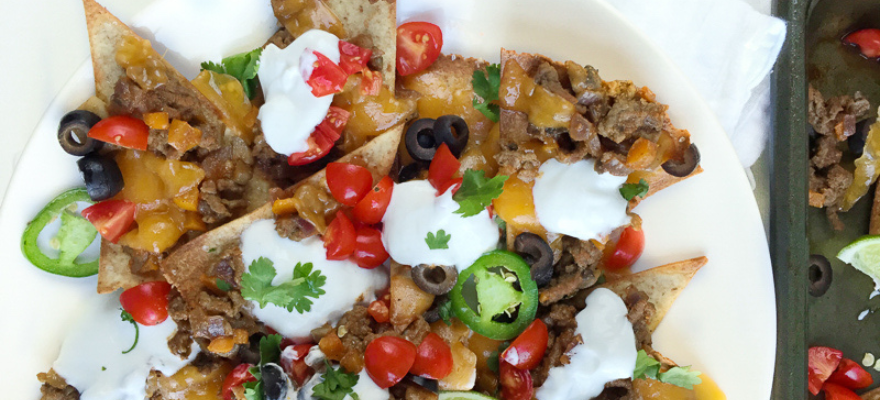 A surprisingly healthy plate of loaded nachos