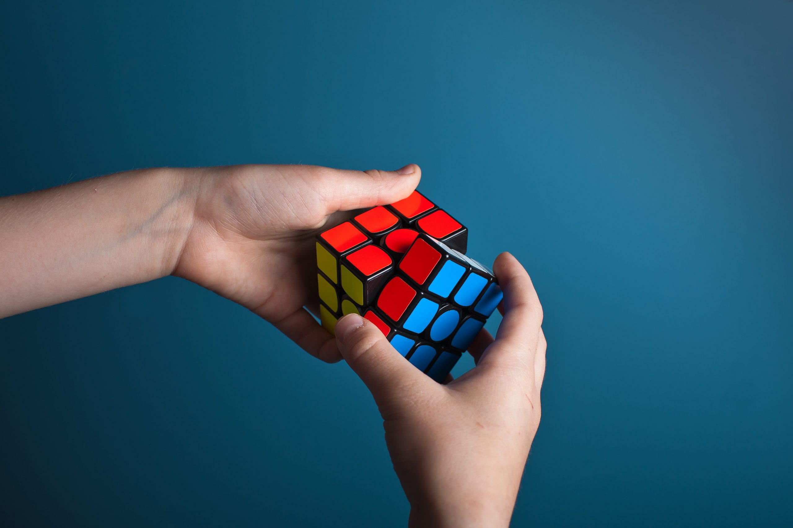 a rubiks cube about to be completed